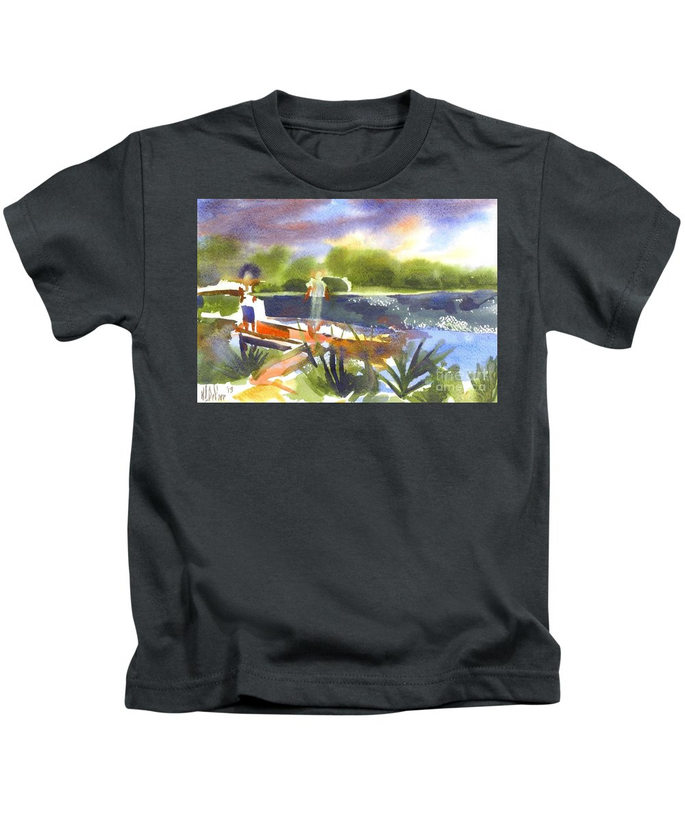 The Ideal Catch Kids T-Shirt featuring the painting The Ideal Catch by Kip DeVore