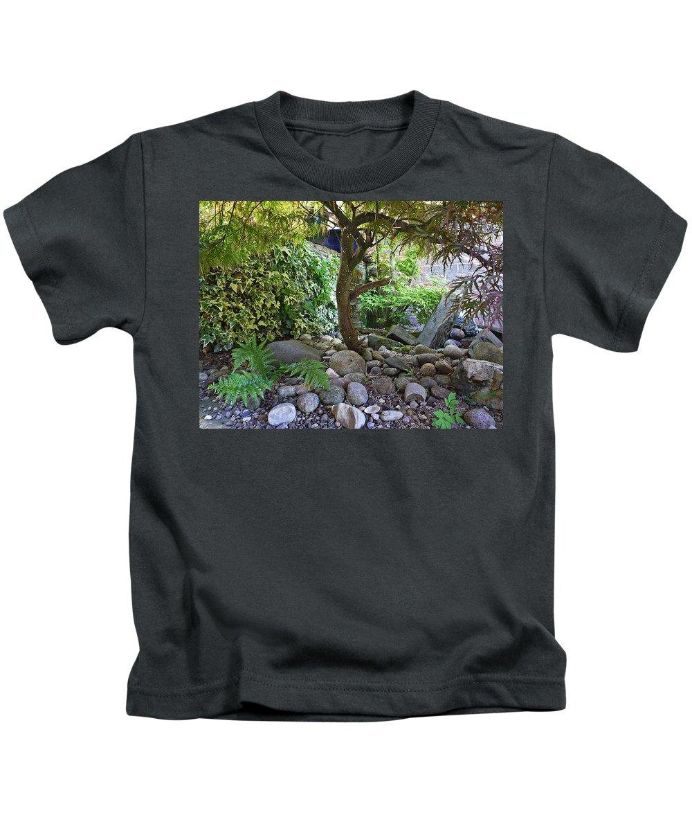 Garden Kids T-Shirt featuring the digital art The Japanese Garden by Charles Stuart