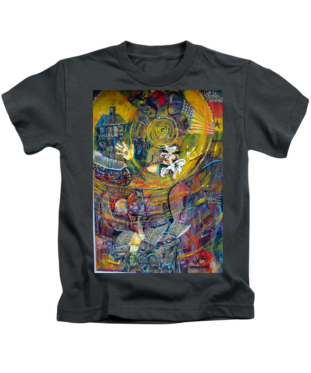 Figures Kids T-Shirt featuring the painting The Journey by Peggy Blood