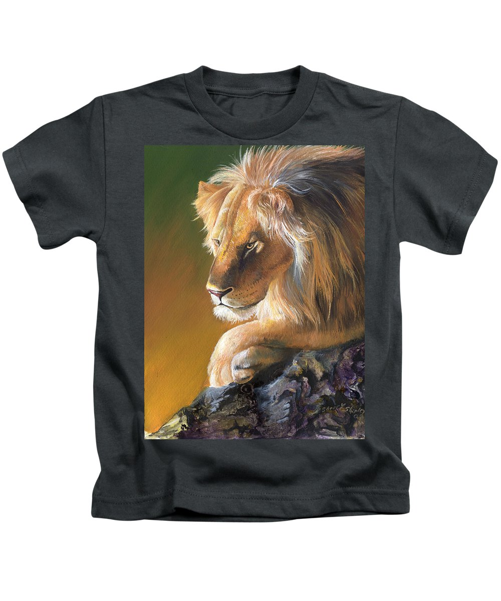 Lion Kids T-Shirt featuring the painting The King by Sherry Shipley