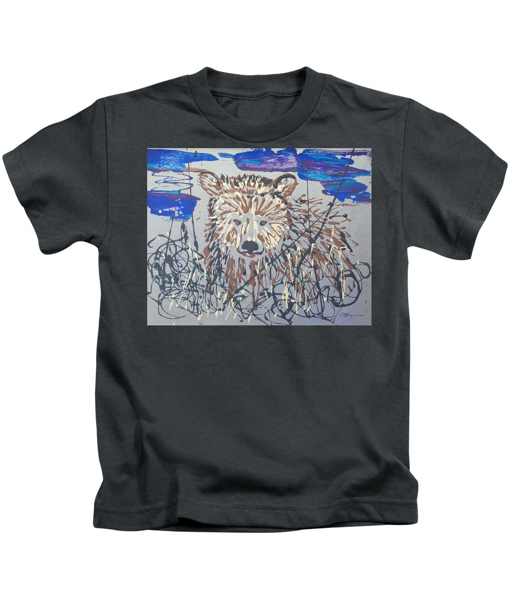 Bear In Bushes Kids T-Shirt featuring the painting The Kodiak by J R Seymour