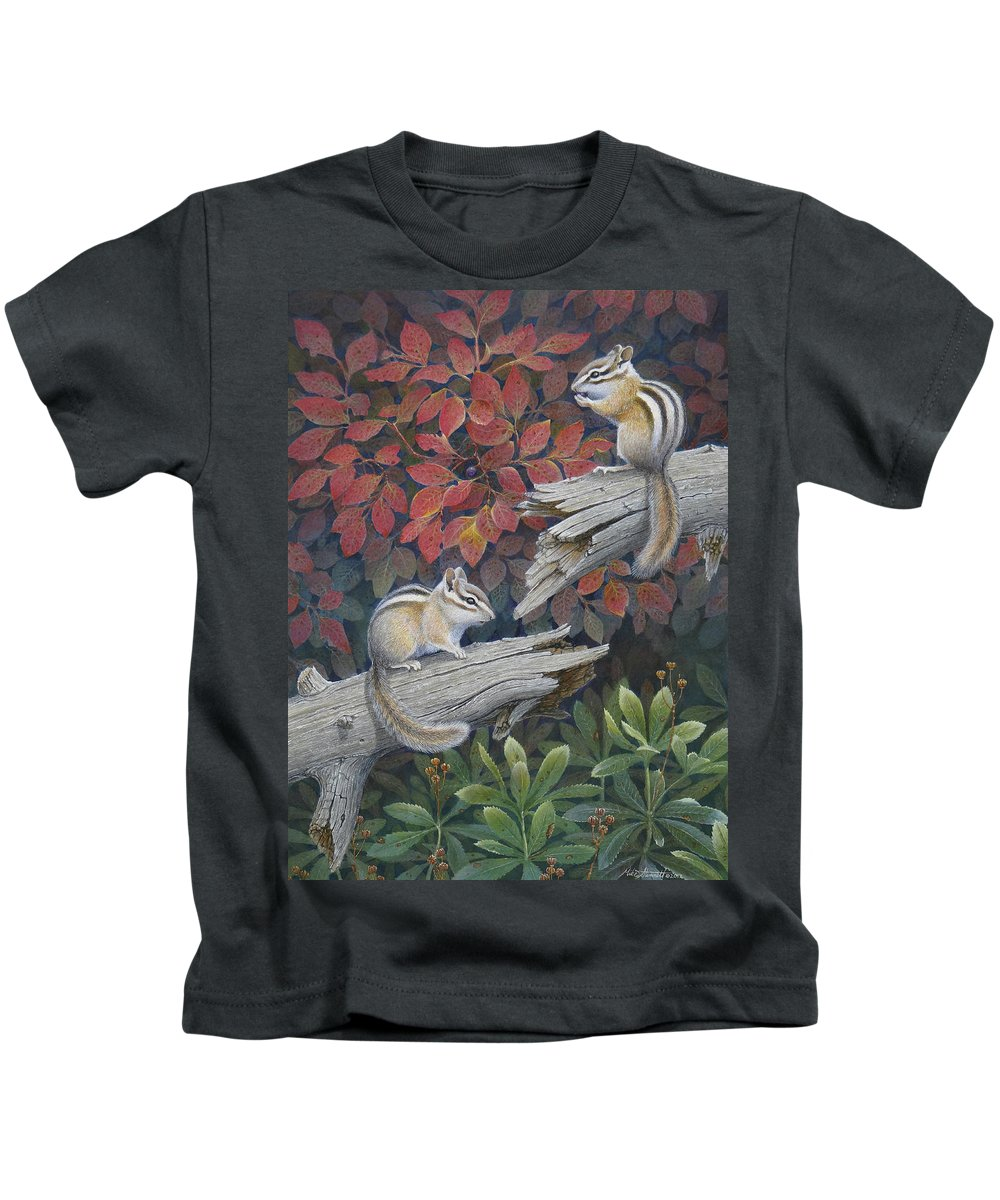 Chipmunk Kids T-Shirt featuring the painting The Last Huckleberry by Mike Stinnett