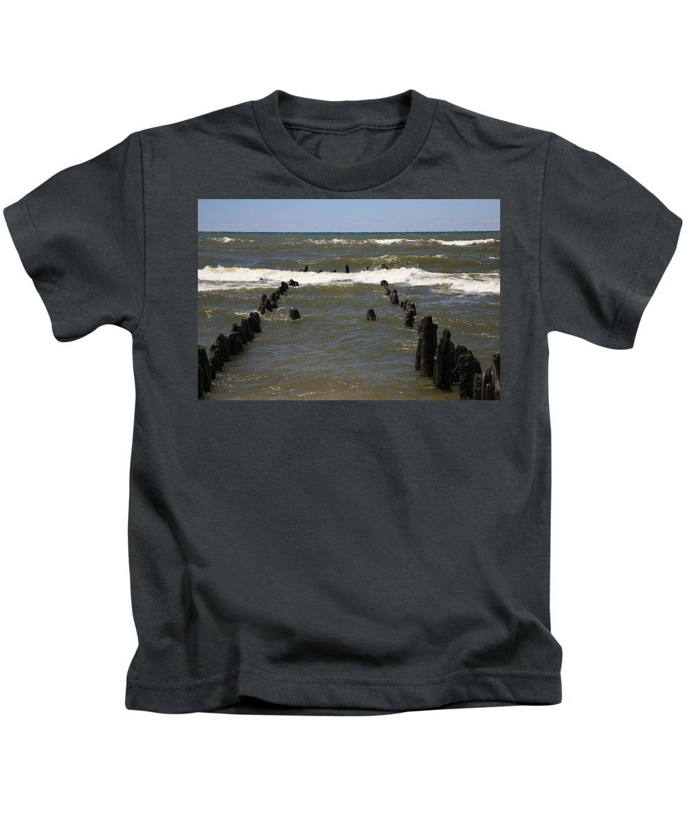 Sand Surf Kids T-Shirt featuring the photograph The Last Wooden Pier by Robert Pearson