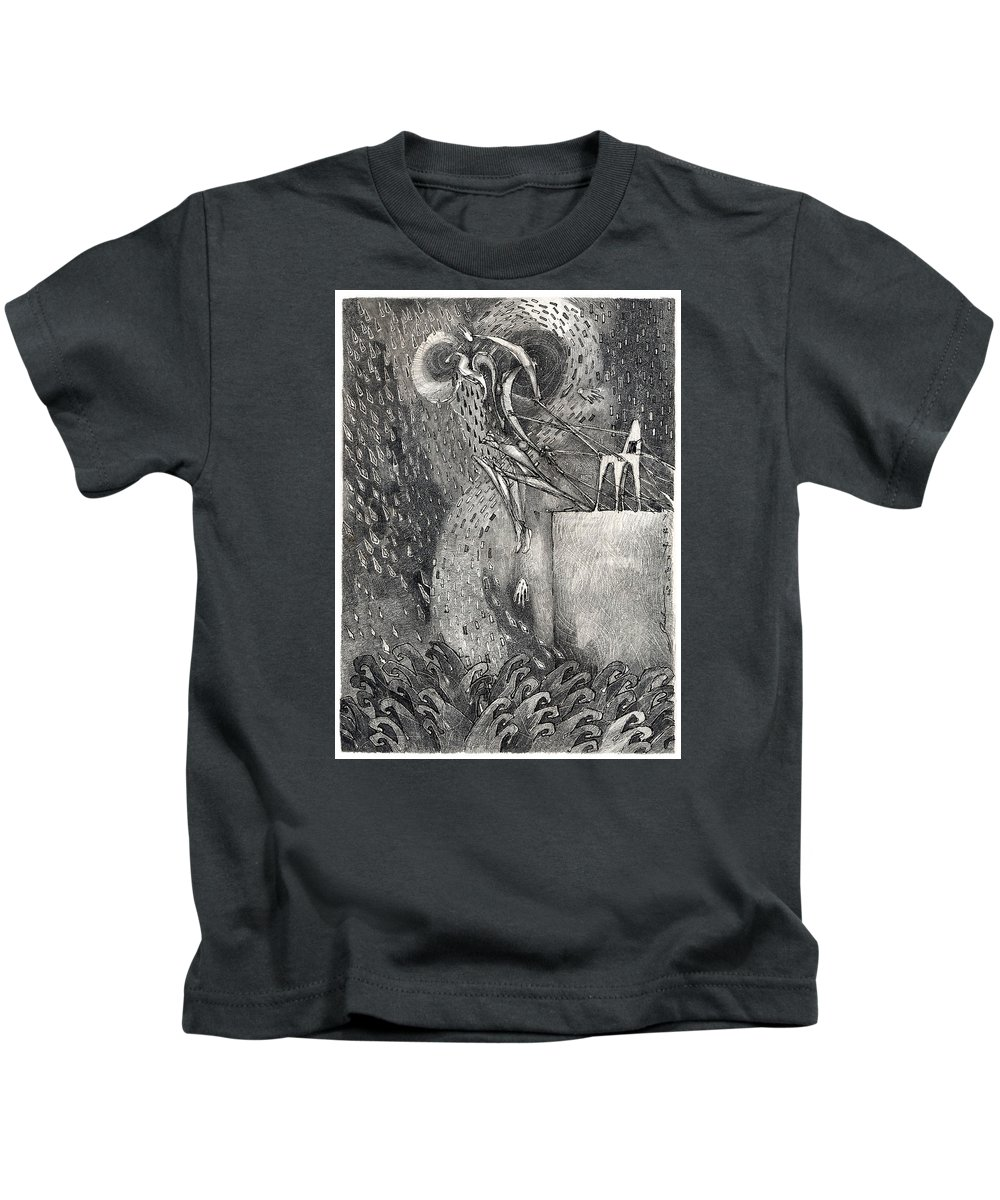 Leap Kids T-Shirt featuring the drawing The Leap by Juel Grant