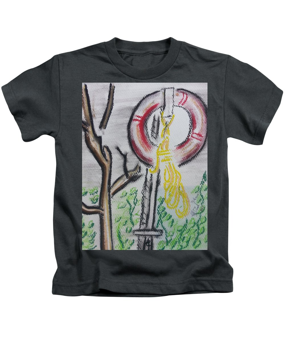 #water #rope #lifesaver #lifeguard #safety #river #tree Kids T-Shirt featuring the drawing The Life Saver by Michael David