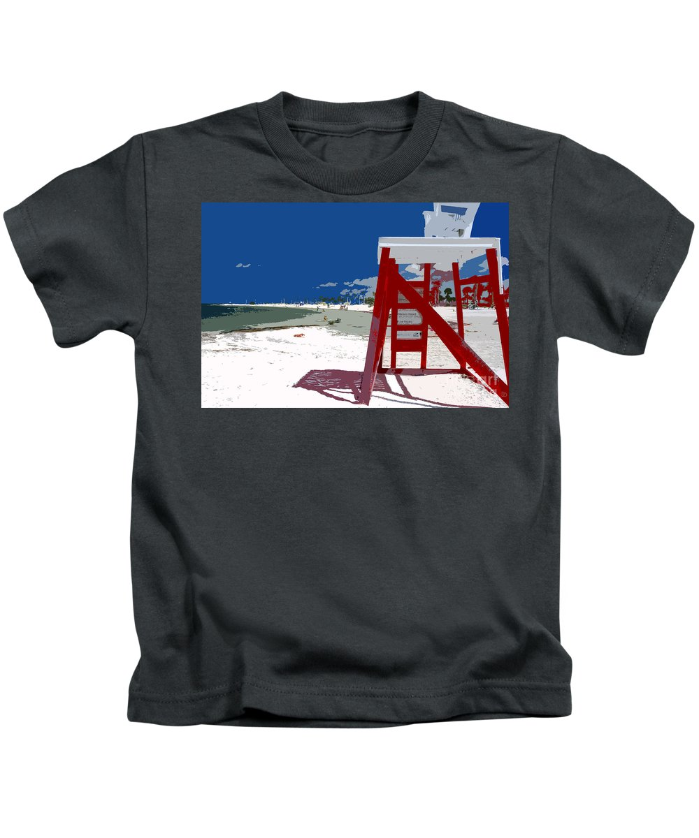 Lifeguard Stand Kids T-Shirt featuring the painting The Lifeguard Stand by David Lee Thompson
