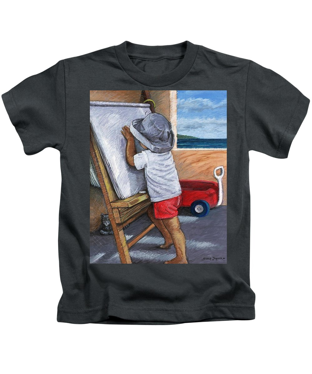 Young Artist Kids T-Shirt featuring the painting The Little Artist by Snake Jagger