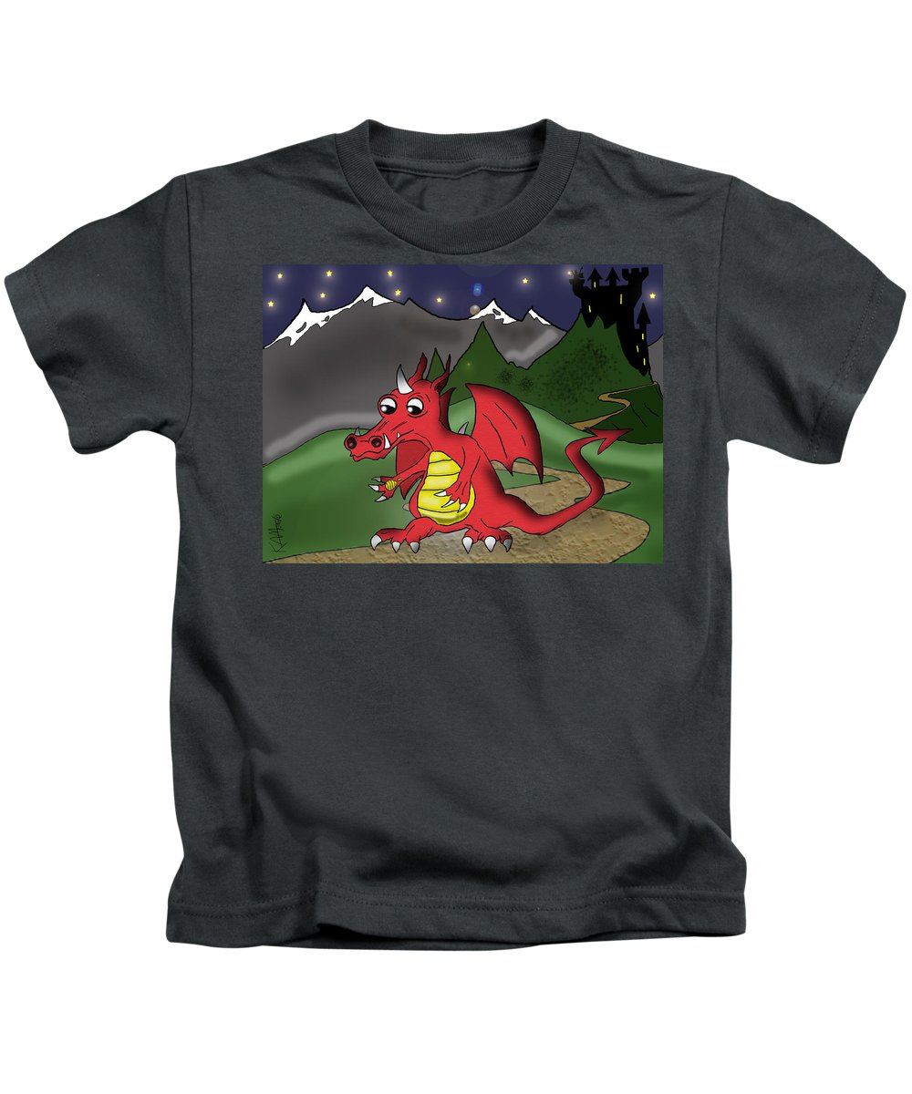 Dragon Kids T-Shirt featuring the drawing The Little Red Dragon by Kev Moore