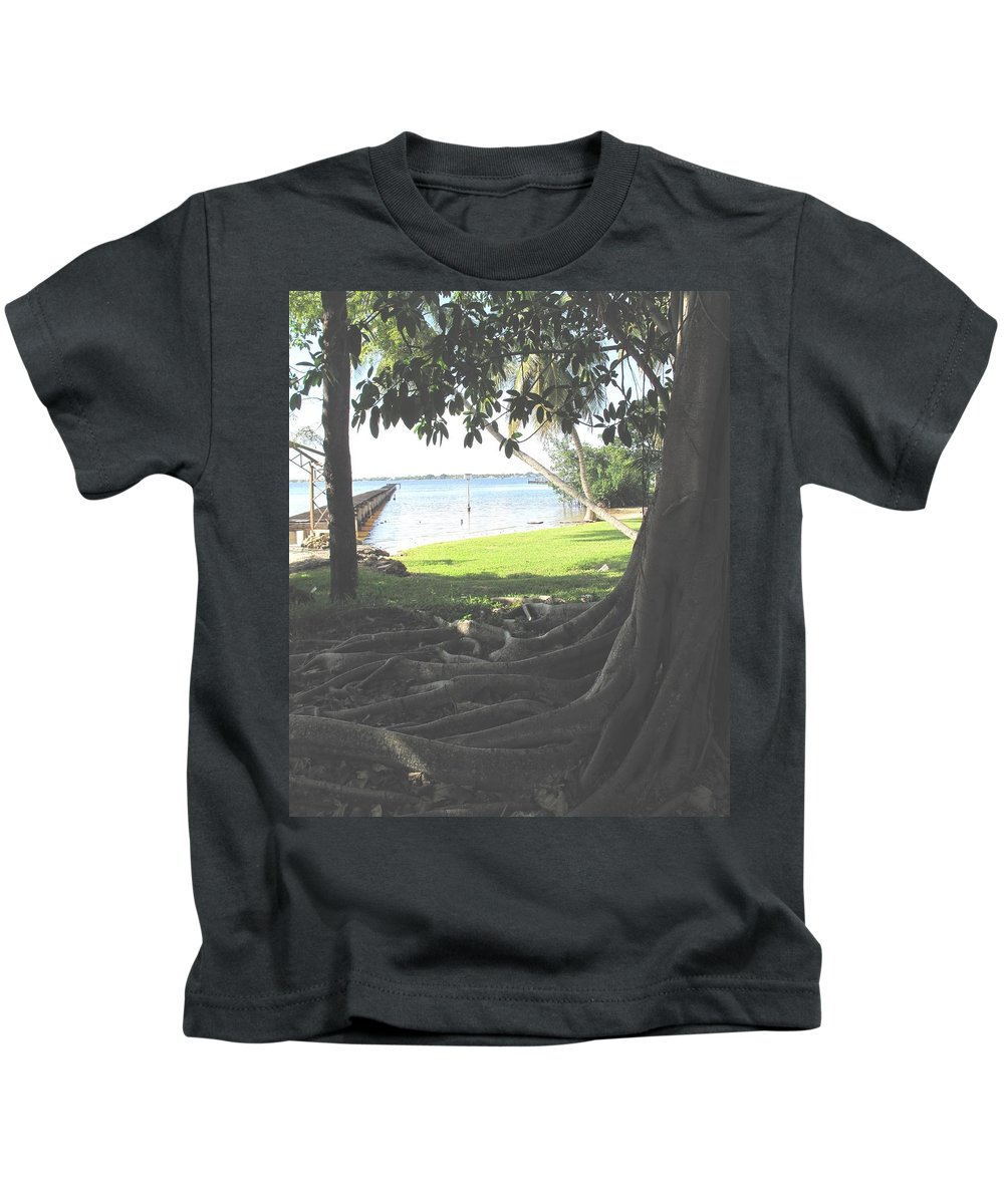 Florida Kids T-Shirt featuring the photograph The Long Dock by Ian MacDonald