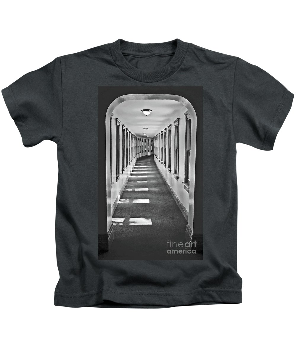Hallway Kids T-Shirt featuring the photograph The Long Hall by Jost Houk