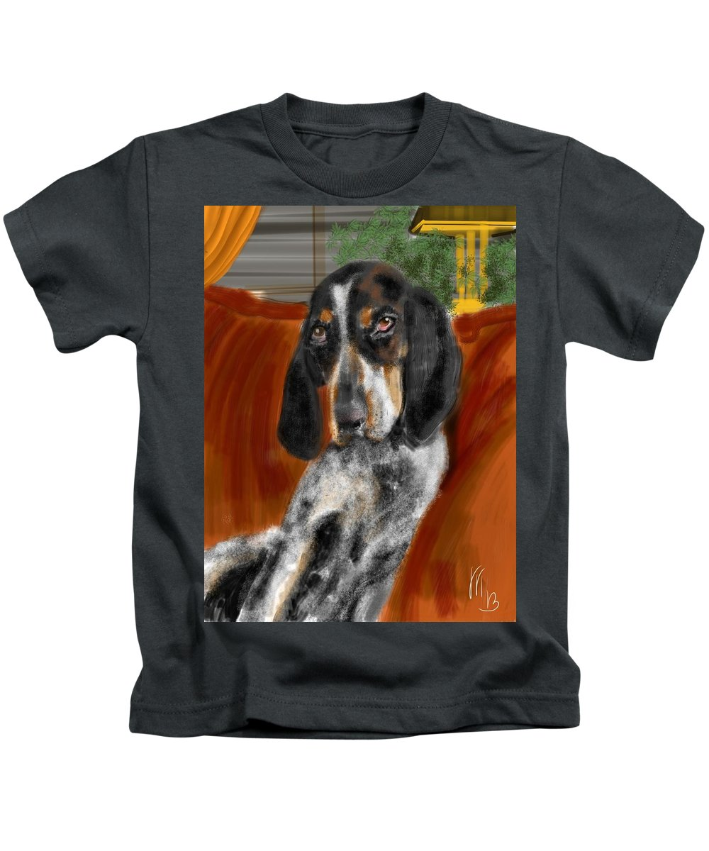 Animals Kids T-Shirt featuring the painting The Lounger by Lois Ivancin Tavaf