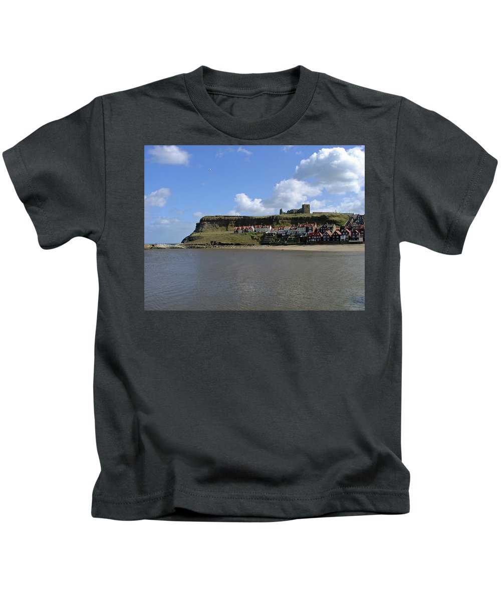 Whitby Abbey Kids T-Shirt featuring the photograph The Majestic East Cliff by Rod Johnson
