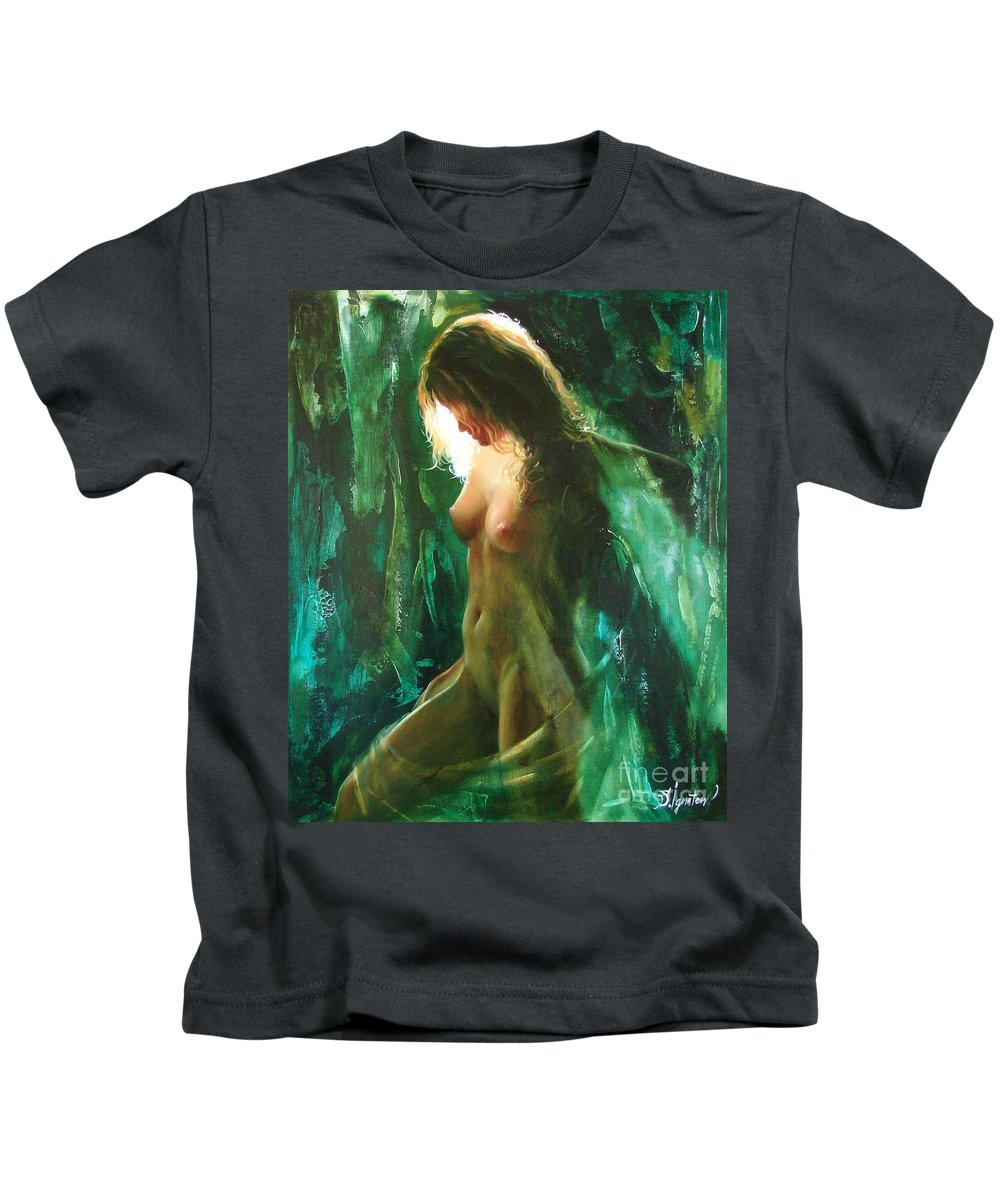 Art Kids T-Shirt featuring the painting The malachite light by Sergey Ignatenko