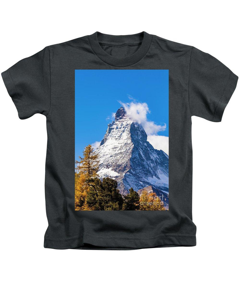 Europe Kids T-Shirt featuring the photograph The Matterhorn Mountain by Werner Dieterich