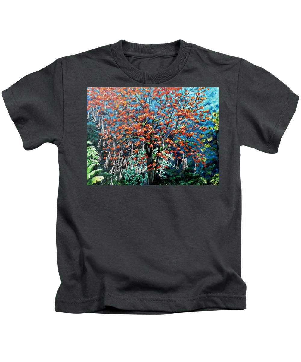 Tree Painting Mountain Painting Floral Painting Caribbean Painting Original Painting Of Immortelle Tree Painting  With Nesting Corn Oropendula Birds Painting In Northern Mountains Of Trinidad And Tobago Painting Kids T-Shirt featuring the painting The Mighty Immortelle by Karin Dawn Kelshall- Best