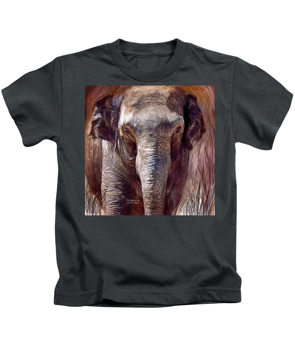 Elephant Kids T-Shirt featuring the mixed media The Mighty One by Carol Cavalaris