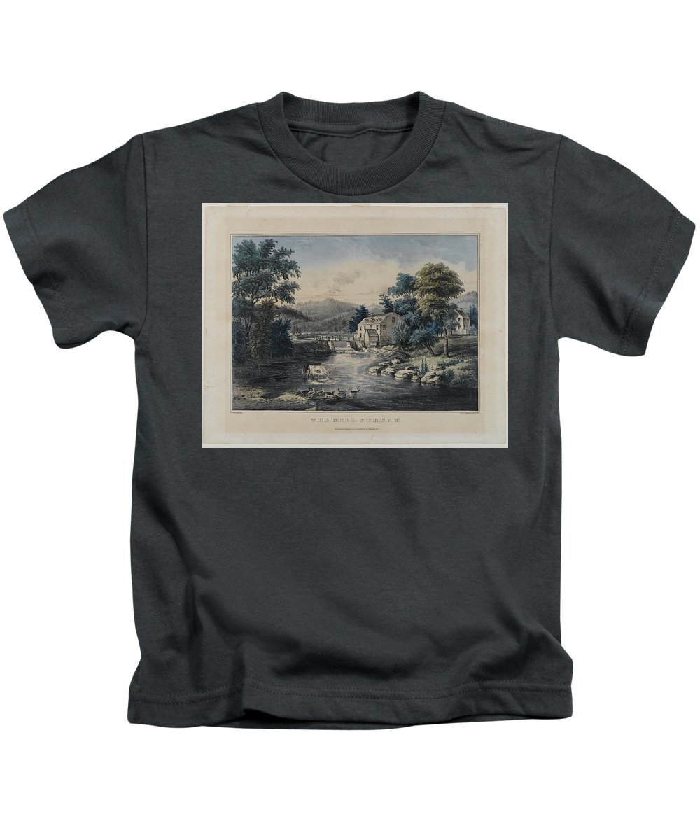 Nathaniel Currier (american Kids T-Shirt featuring the painting The Mill-stream by Nathaniel Currier