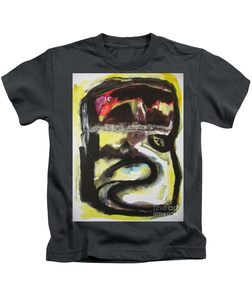 Abstract Paintings Kids T-Shirt featuring the painting The Moon Compassionate by Seon-Jeong Kim