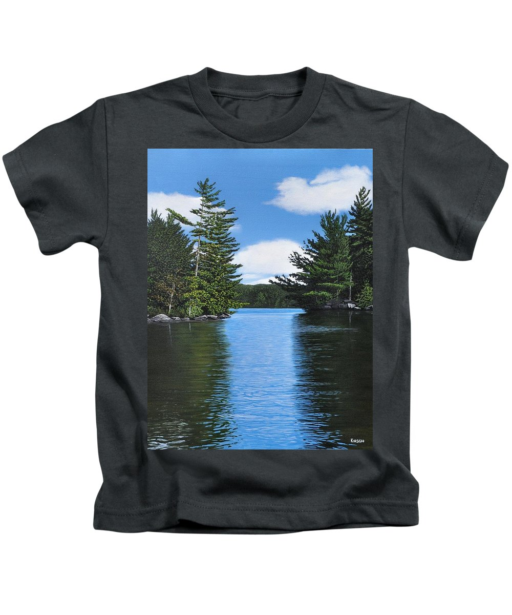 Landscapes Kids T-Shirt featuring the painting The Narrows Of Muskoka by Kenneth M Kirsch