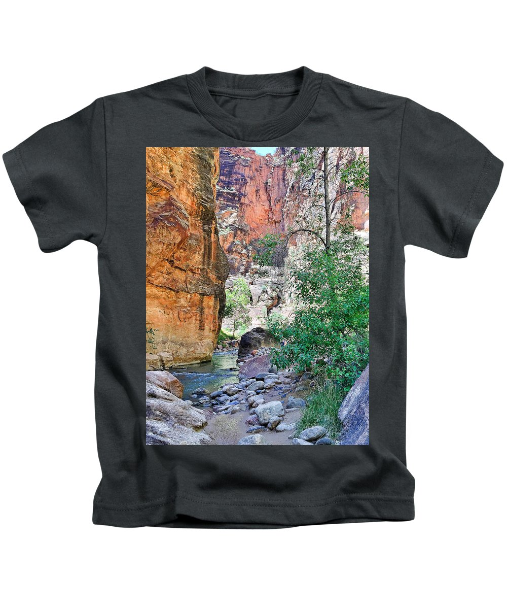 The Narrows Kids T-Shirt featuring the photograph The Narrows Of The Virgin River by Robert Meyers-Lussier