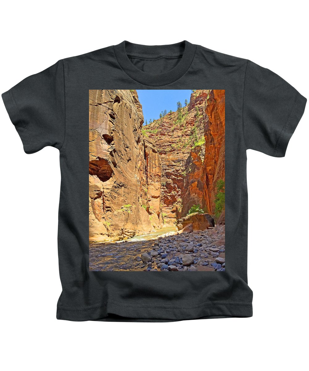 The Narrows Kids T-Shirt featuring the photograph The Narrows Study 2 by Robert Meyers-Lussier