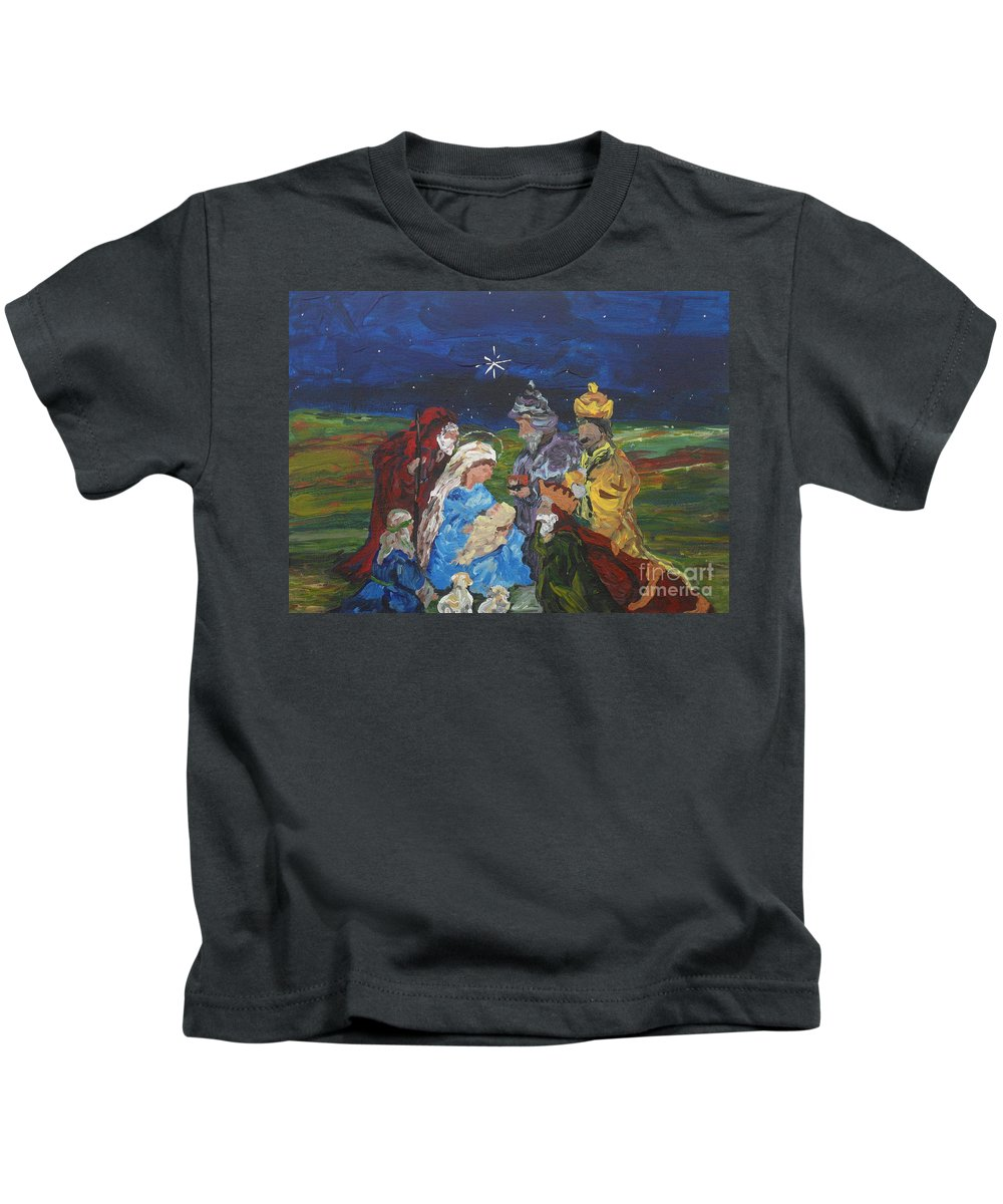 Nativity Kids T-Shirt featuring the painting The Nativity by Reina Resto