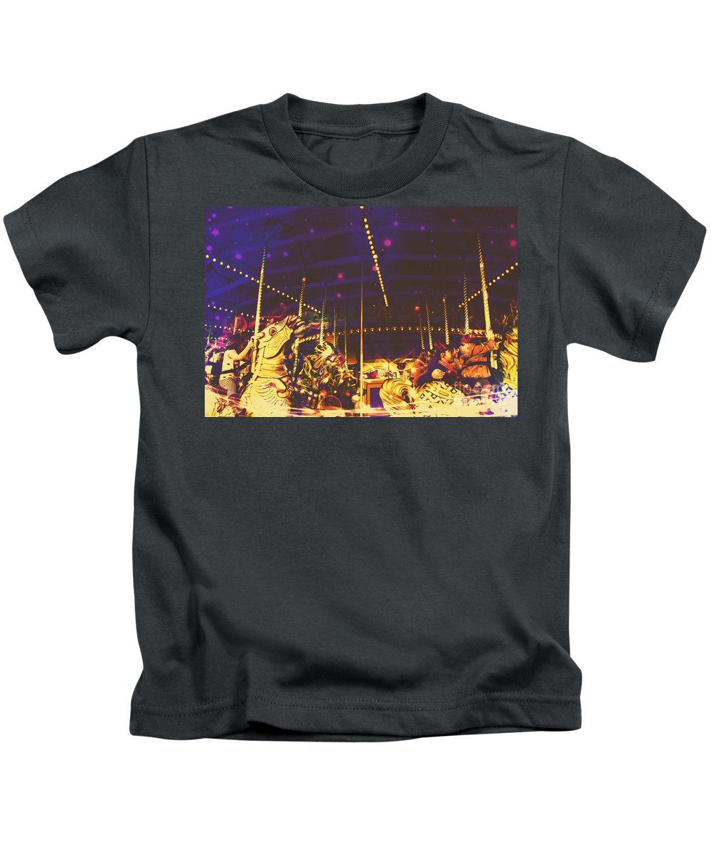 Surreal Kids T-Shirt featuring the digital art The Nightmare Carousel 7 by Marina McLain
