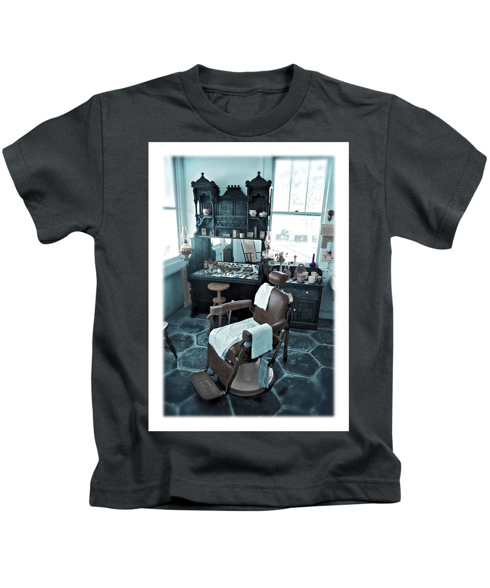Barber Kids T-Shirt featuring the photograph The Old American Barbershop by Mal Bray
