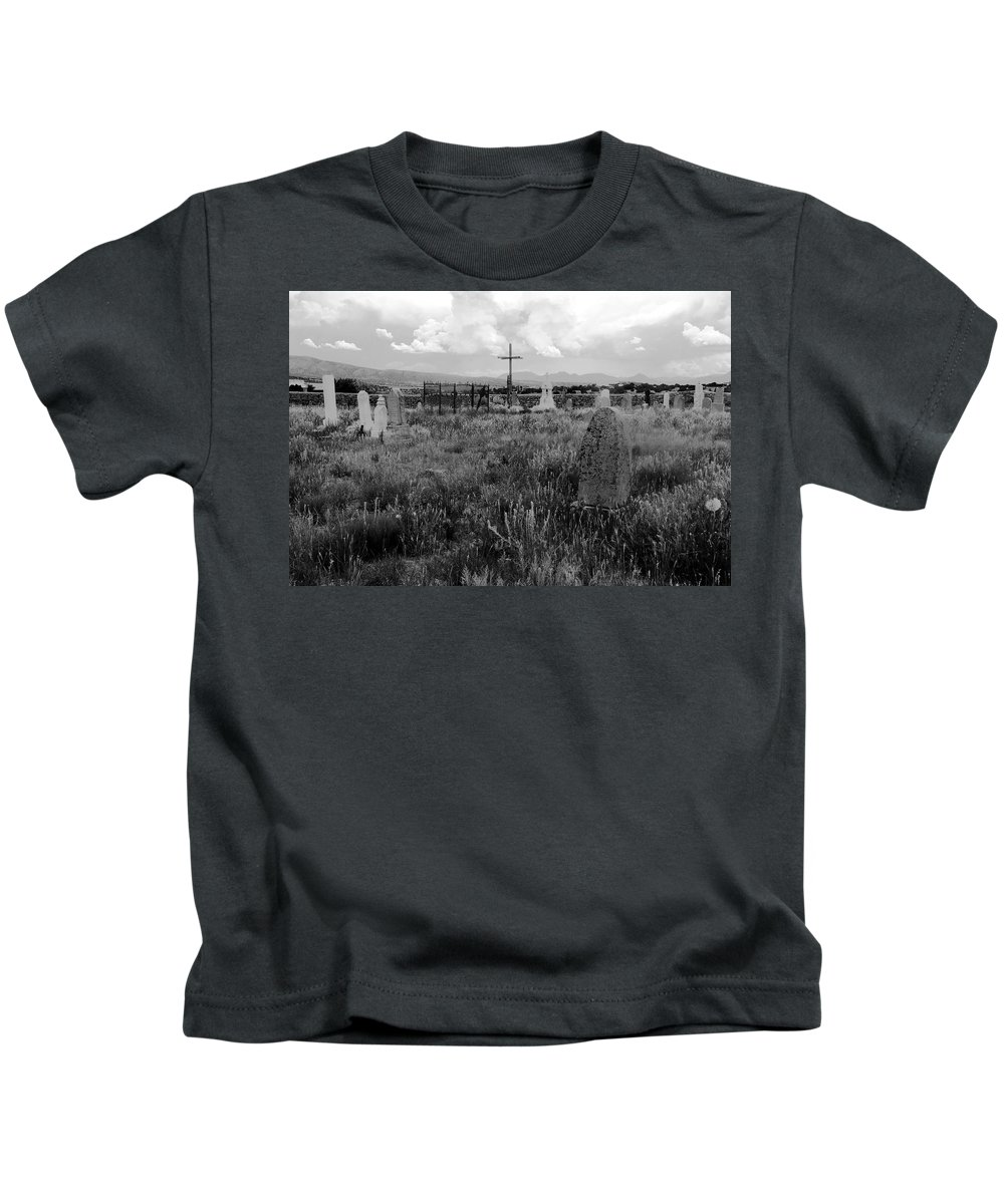 Galisteo New Mexico Kids T-Shirt featuring the photograph The Old Cemetery At Galisteo by David Lee Thompson