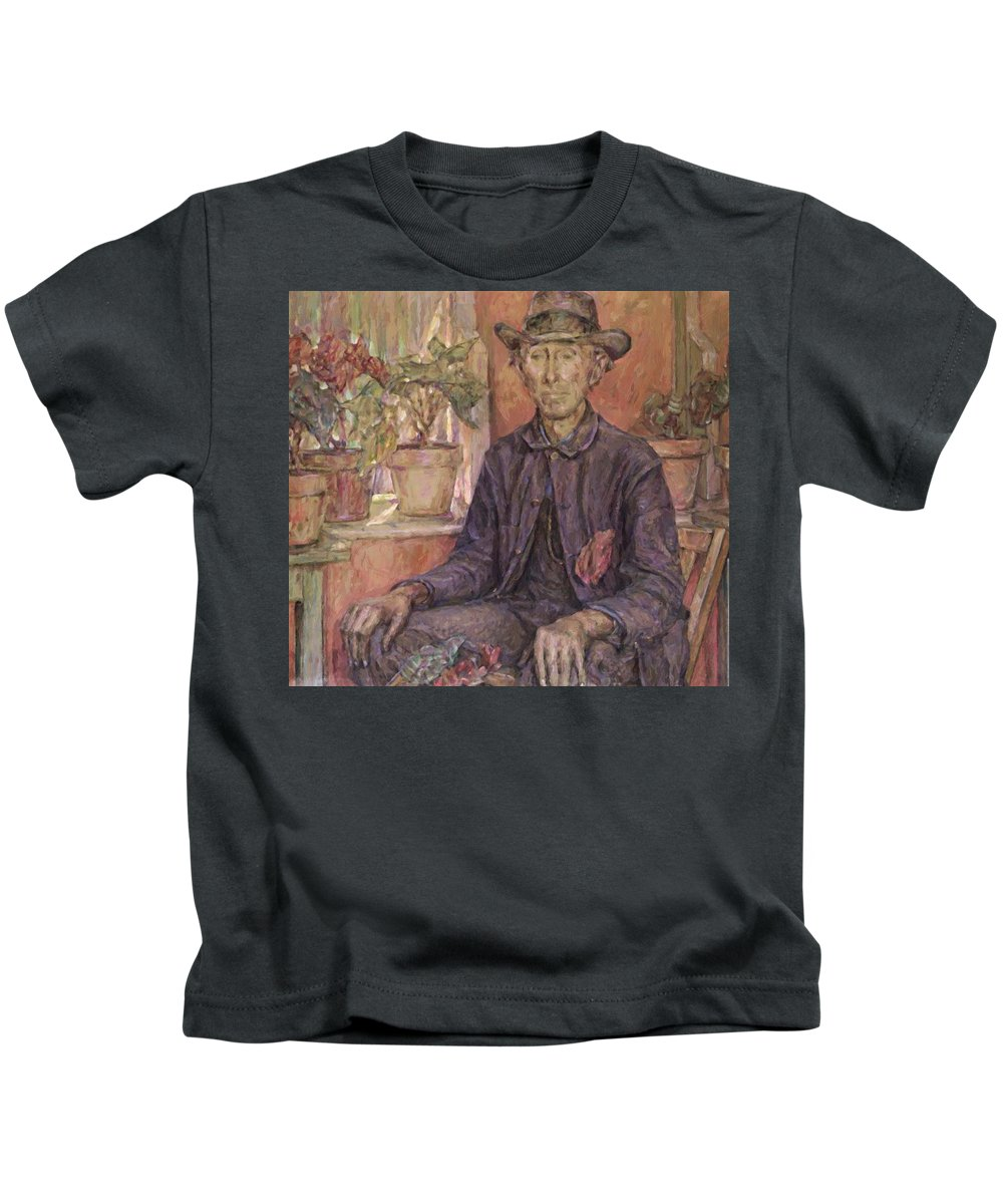 The Kids T-Shirt featuring the painting The Old Gardener 1921 by Reid Robert Lewis