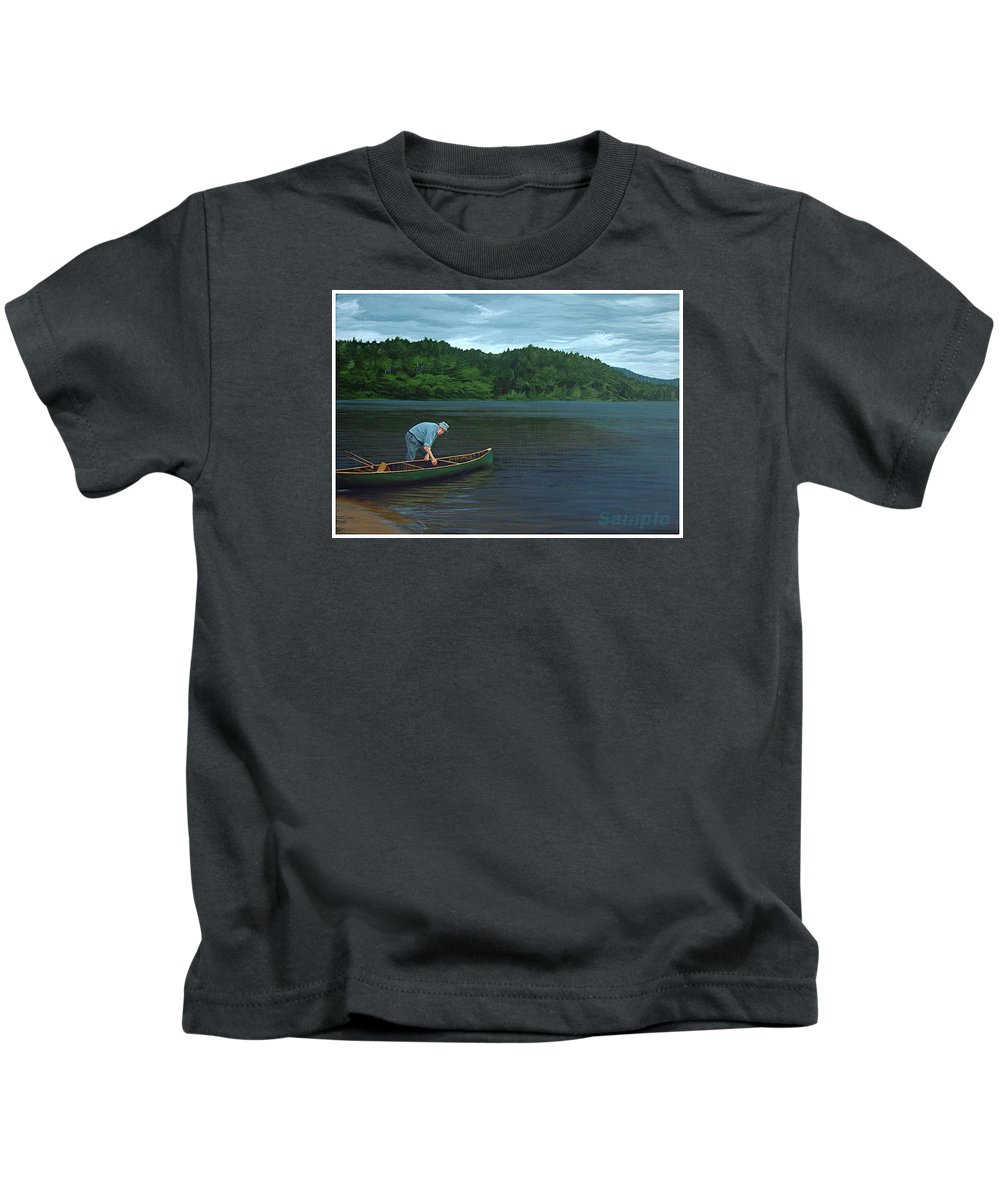 Landscape Kids T-Shirt featuring the painting The Old Green Canoe by Jan Lyons