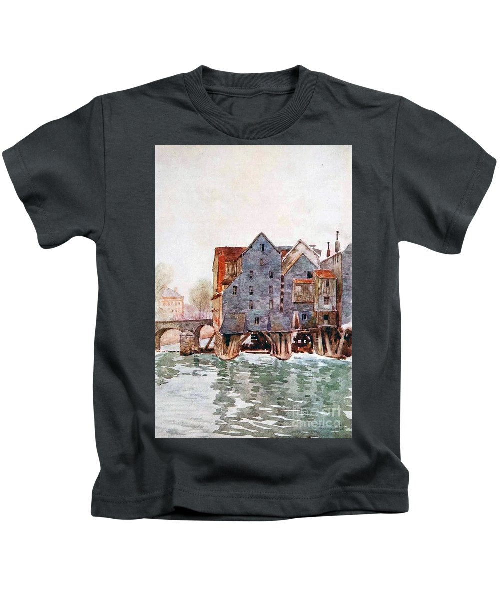 Herbert Menzies Marshall - The Old Mills At Meaux Kids T-Shirt featuring the painting The Old Mills At Meaux by MotionAge Designs