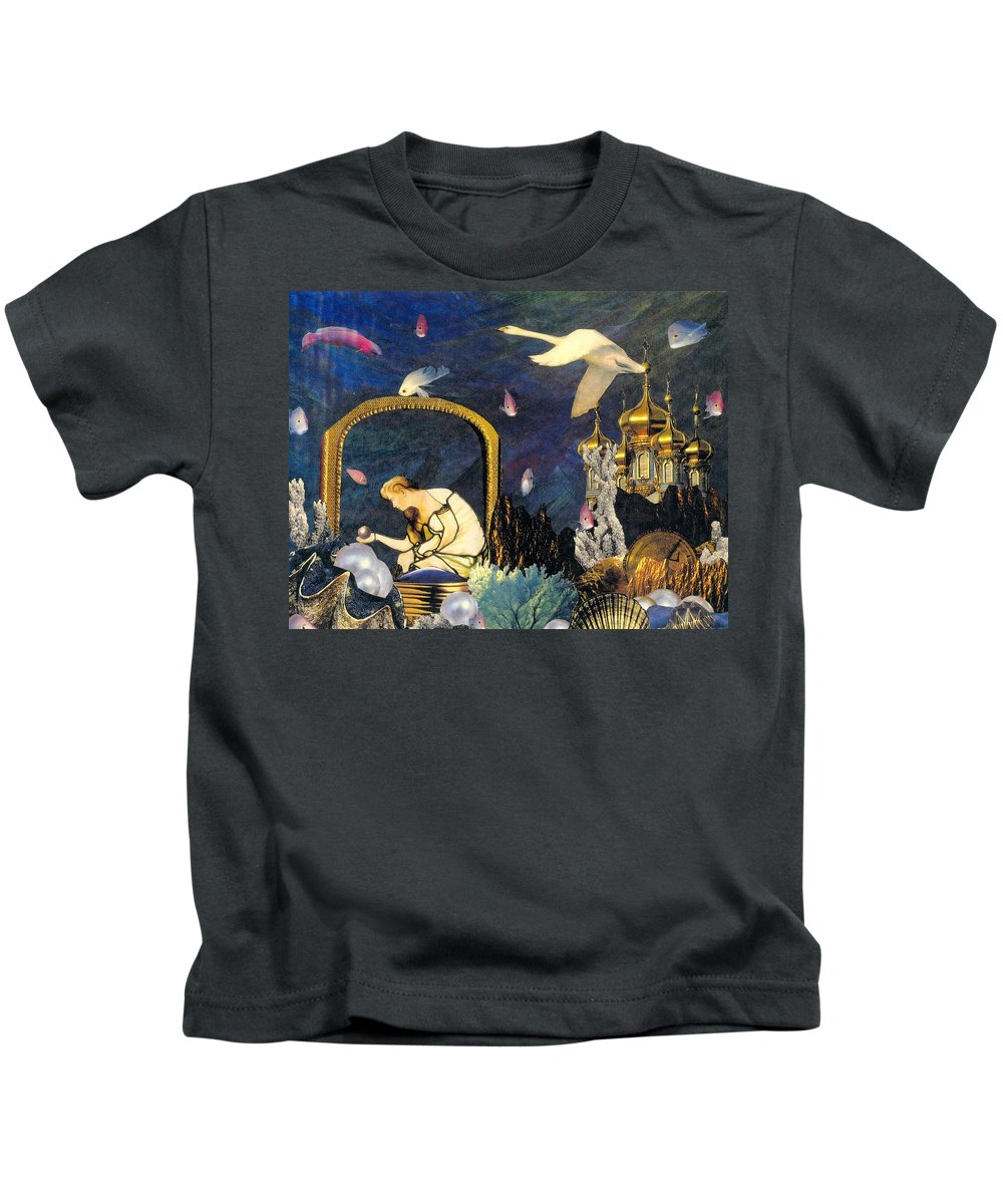 Surealism Kids T-Shirt featuring the mixed media The Pearl Of Great Price by Gail Kirtz