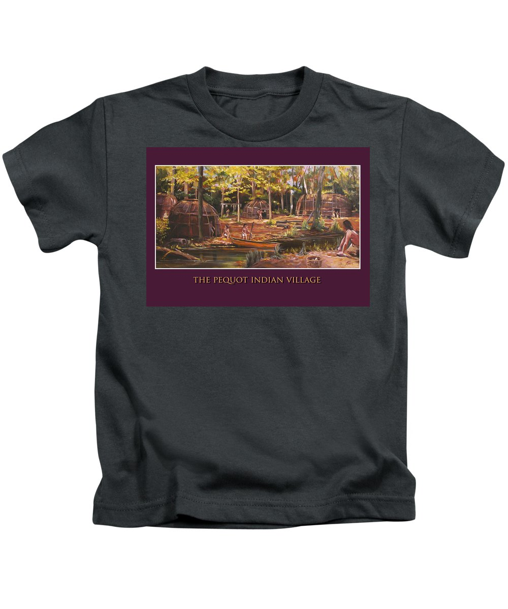 Pequot Kids T-Shirt featuring the painting The Pequot Indian Village by Nancy Griswold