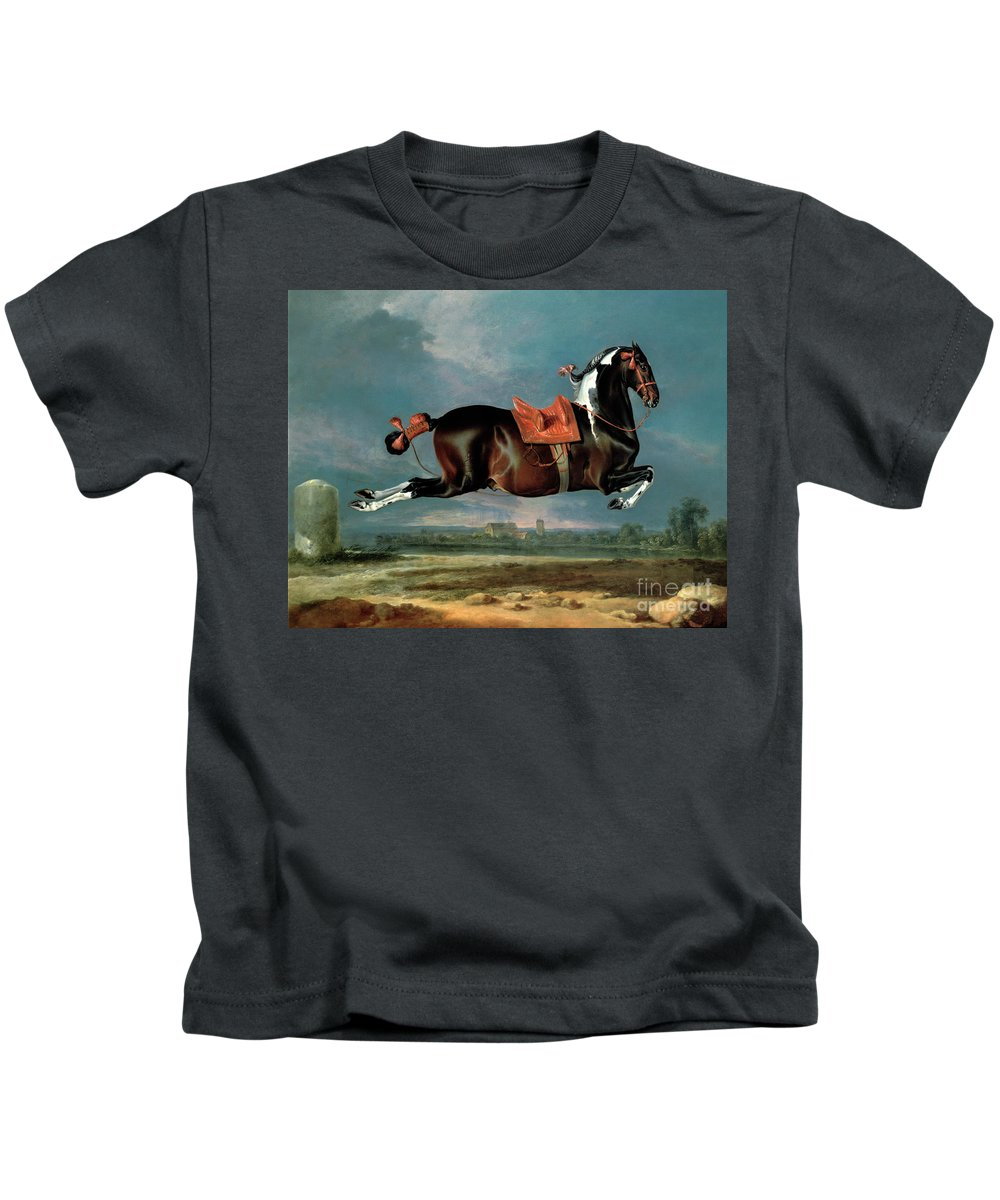 The Kids T-Shirt featuring the painting The Piebald Horse by Johann Georg Hamilton