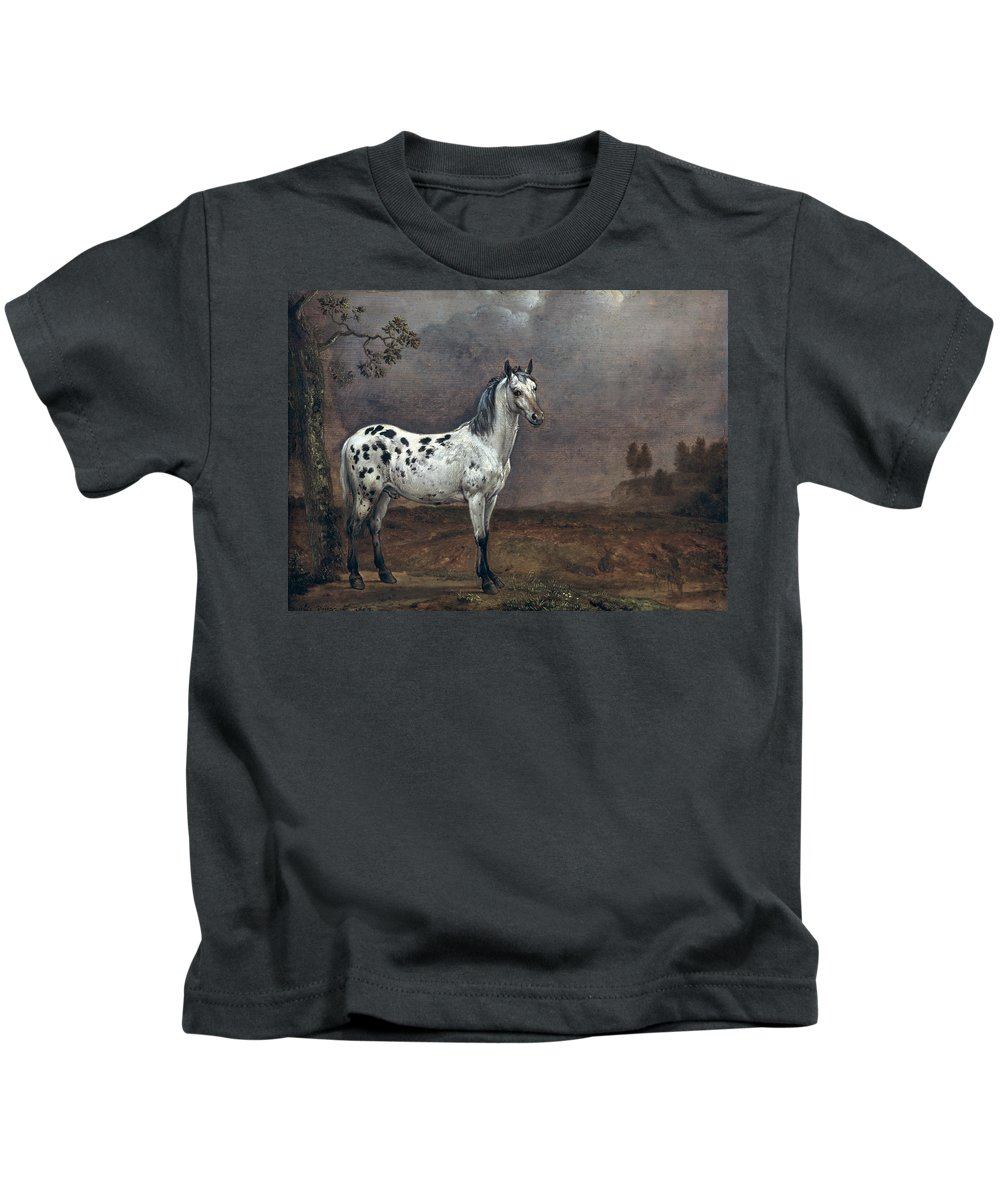 The Kids T-Shirt featuring the painting The Piebald Horse by Paulus Potter