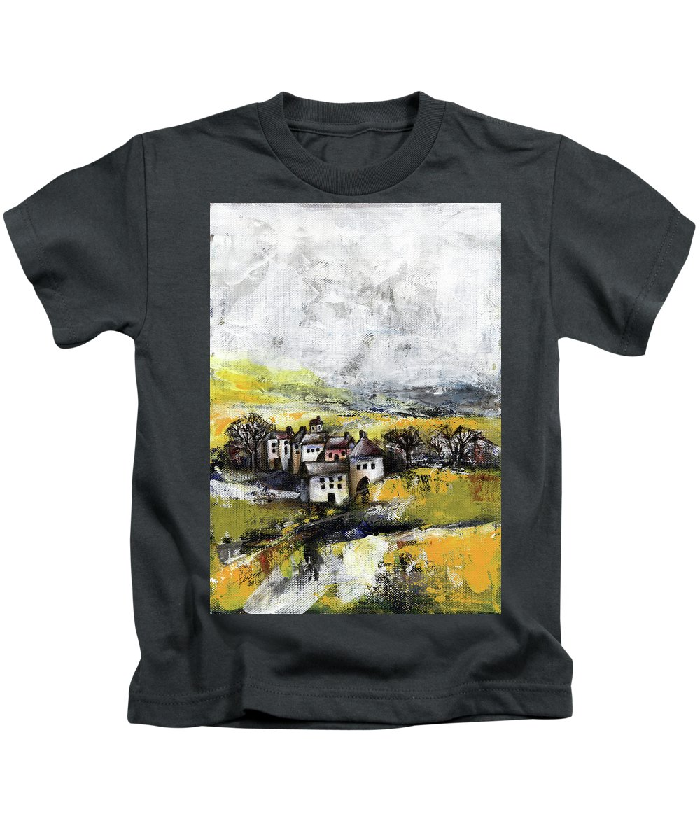 Landscape Kids T-Shirt featuring the painting The Pink House by Aniko Hencz