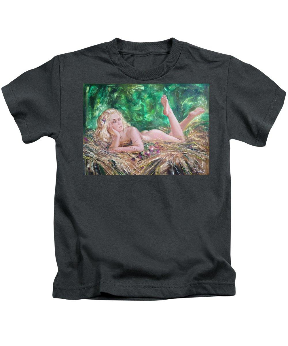 Ignatenko Kids T-Shirt featuring the painting The pretty summer by Sergey Ignatenko