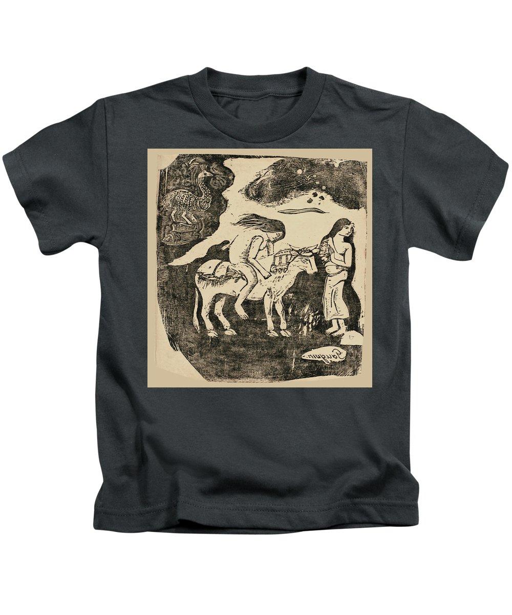 Paul Gauguin Kids T-Shirt featuring the drawing The Rape Of Europa by Paul Gauguin