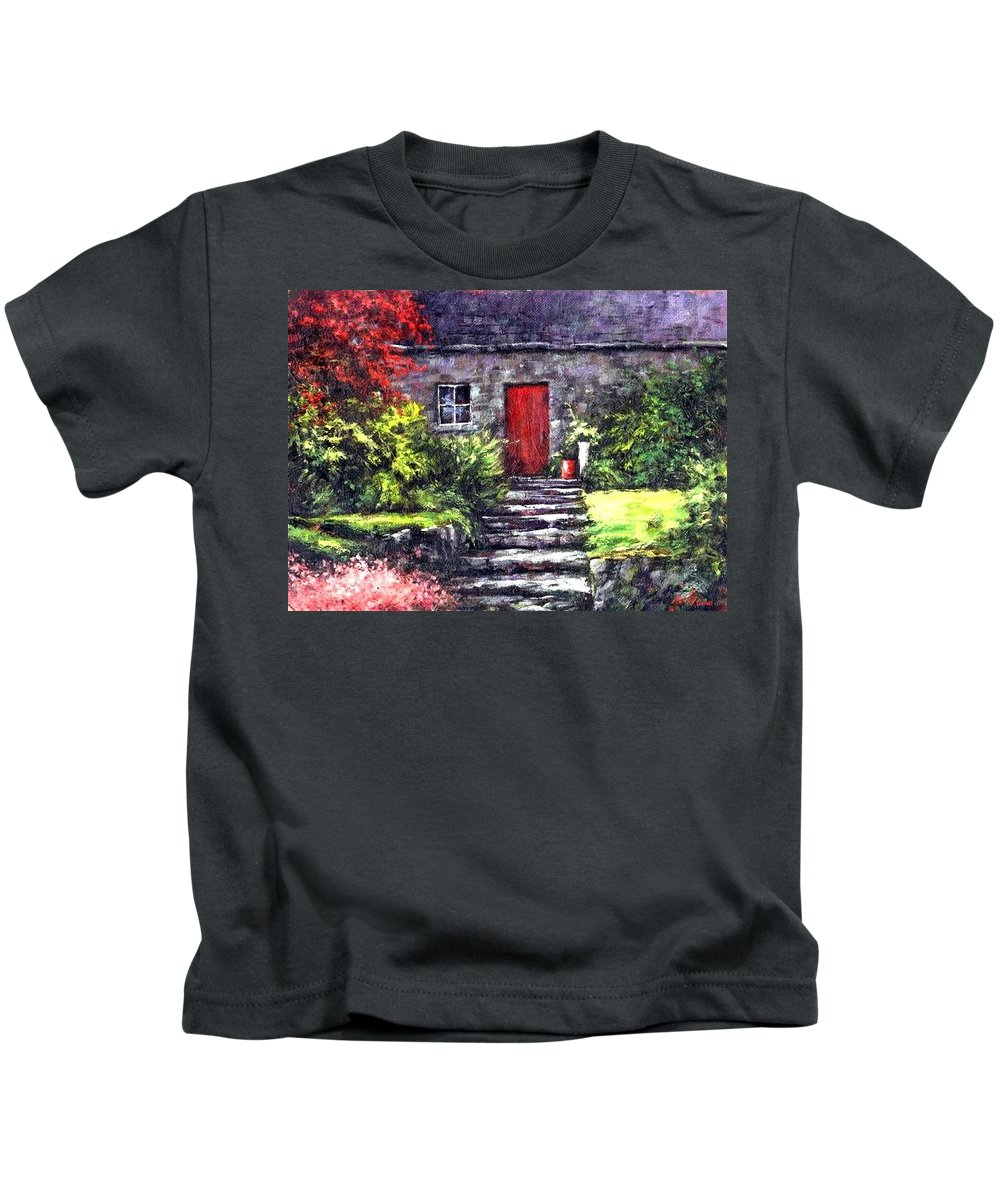 Ireland Kids T-Shirt featuring the painting The Red Door by Jim Gola