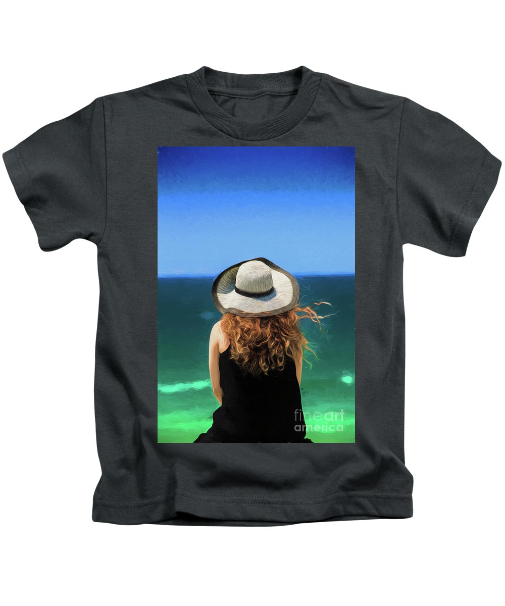 Red Headed Girl Kids T-Shirt featuring the photograph The red headed girl in a hat by Sheila Smart Fine Art Photography