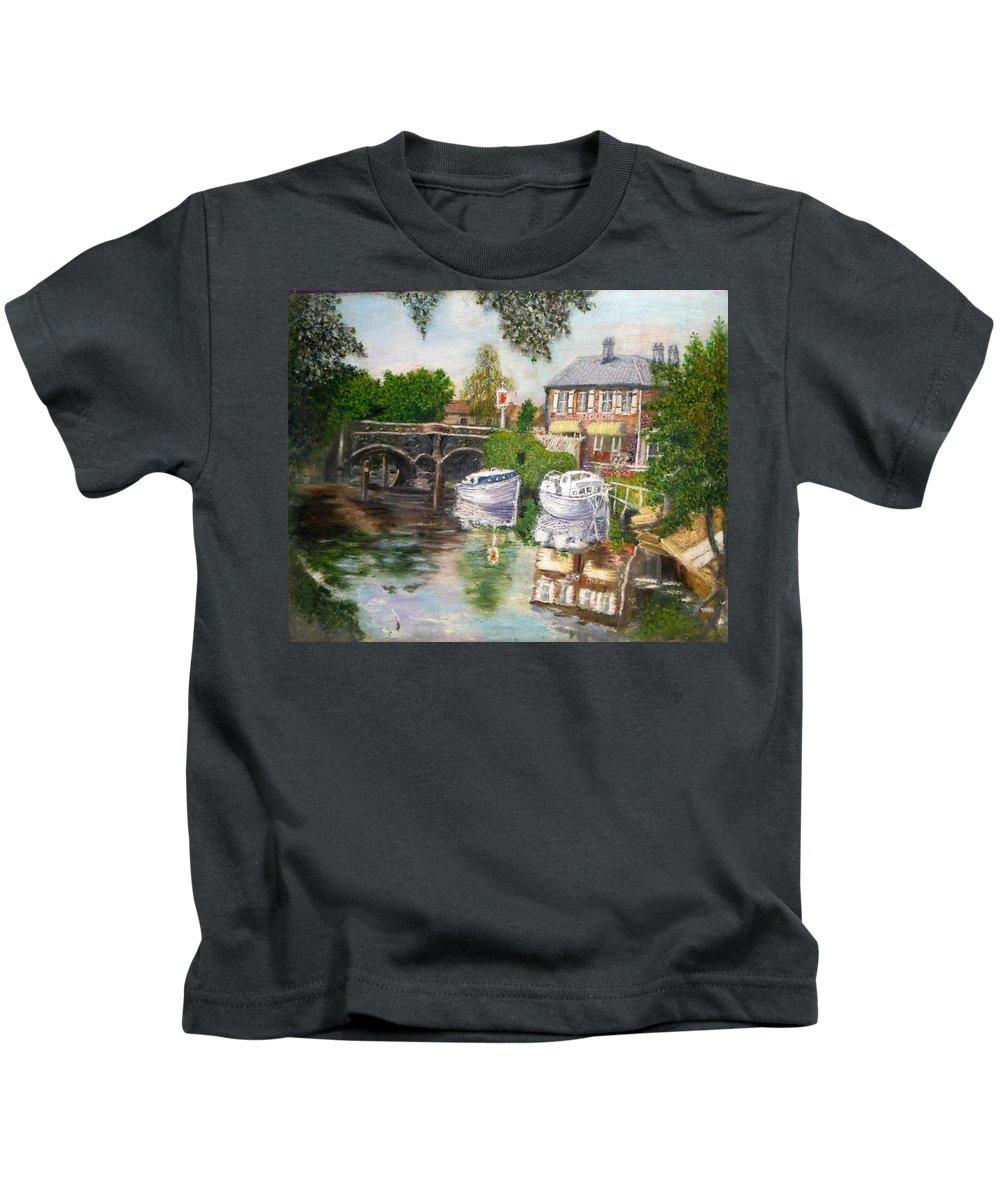 Red Lion Inn Kids T-Shirt featuring the painting The Red Lion Inn By The Riverbank by Peter Gartner