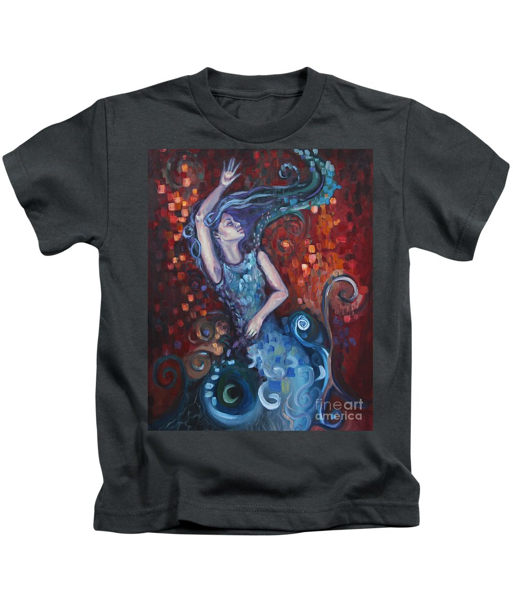 Mermaid Kids T-Shirt featuring the painting The Red Ocean by Kim Marshall
