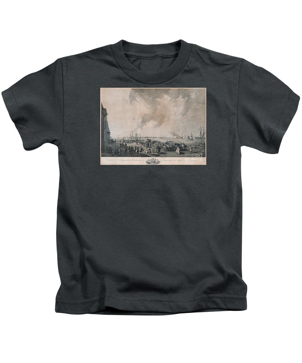 The Panorama Shows The River Neva With A Staffage Of Ships And Commerce On The Quay. Kids T-Shirt featuring the painting the river Neva by Celestial Images