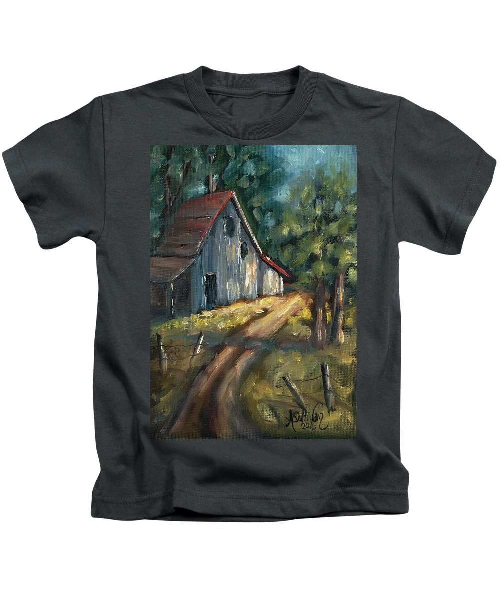 Barn Kids T-Shirt featuring the painting The Road Leads Home by Angela Sullivan