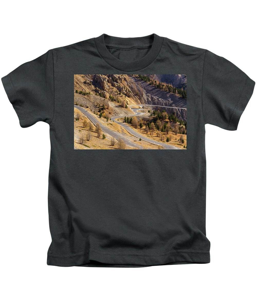 Mountain Landscape Kids T-Shirt featuring the photograph The Road To Izoard Pass - 2 - French Alps by Paul MAURICE
