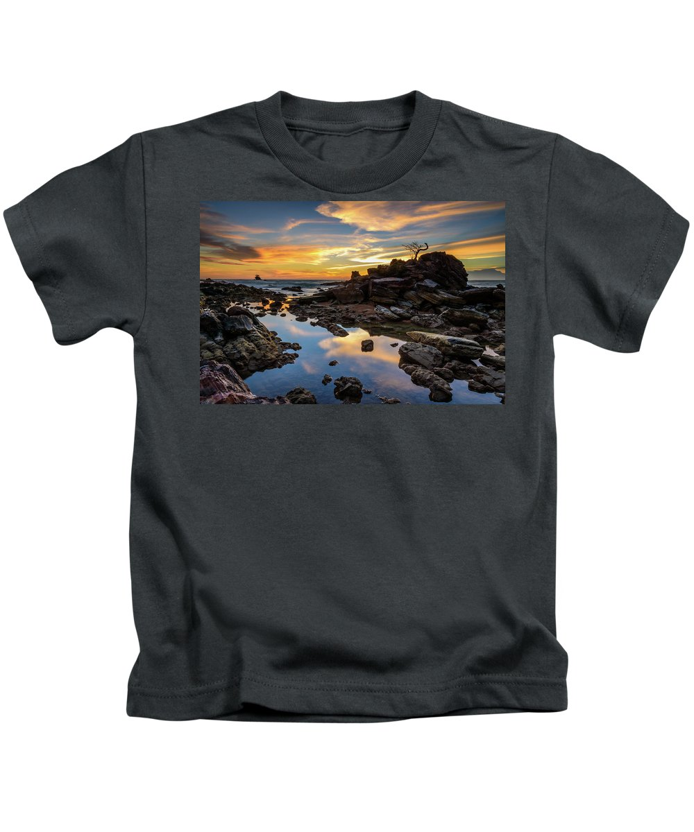 Abstract Kids T-Shirt featuring the photograph The Rock Bonsai During Sunset by Erwin Ussdek