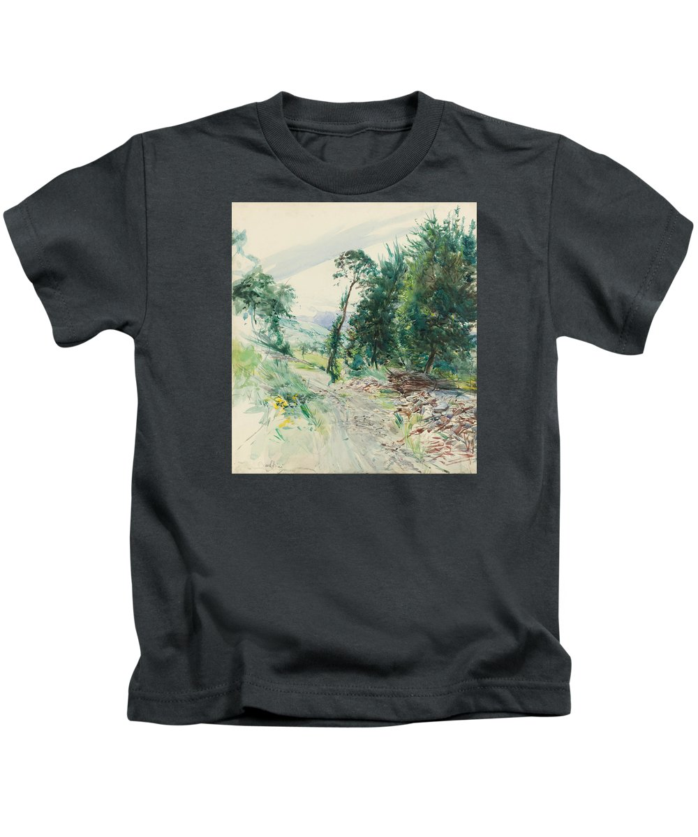 Painting Kids T-Shirt featuring the painting The Route by Mountain Dreams