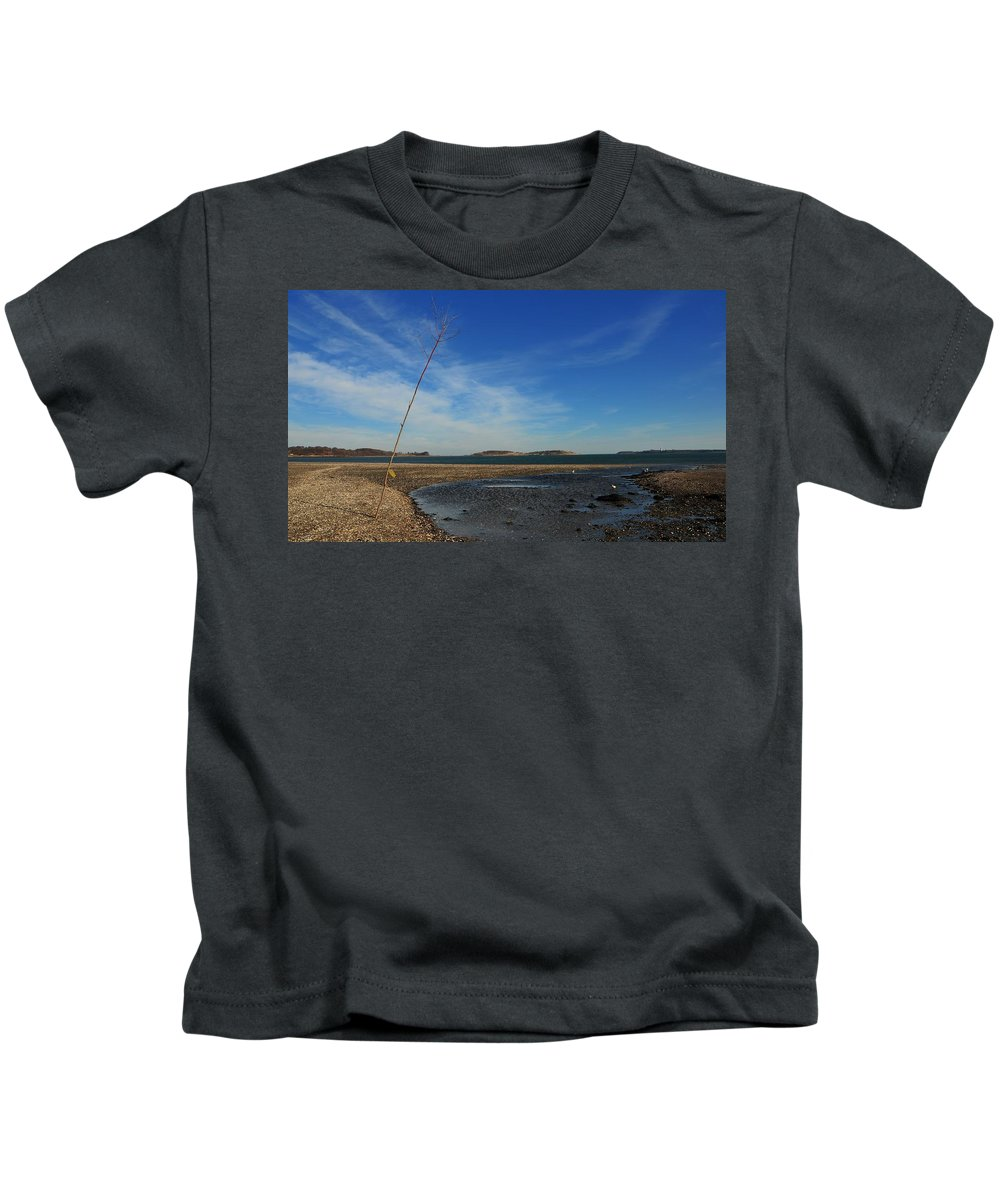 The Sandbar At Low Tide Squaw Rock Quincy Ma Kids T-Shirt featuring the photograph The Sandbar At Low Tide by Bill Driscoll