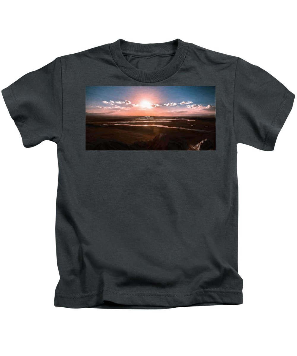 River Kids T-Shirt featuring the painting The Scenery - Id 16235-142805-2743 by S Lurk